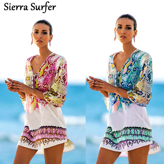 ac8cdc04a5c60 Beach Swimwear Women Dress Cover Up Wear Women s Plus Size Tunic Beachwear  Snake Chiffon New Swimsuit Beach Bikinis Print