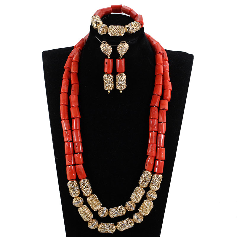 Long Style Coral and Dubai Gold African Beads Necklace Jewelry Set Real Coral Beads Necklace Set New Bridal Jewelry Sets CG022