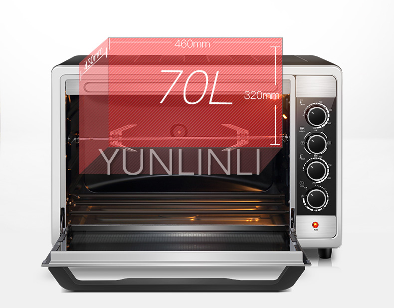 70L Commercial Cake Pizza Chicken Baking Oven Kitchen Oven with Timer Multifunctional Household Oven CS70-02 microwave oven baking tray cold rolled plate porcelain veneer insulation half hour kitchen baking kitchenware wholesale