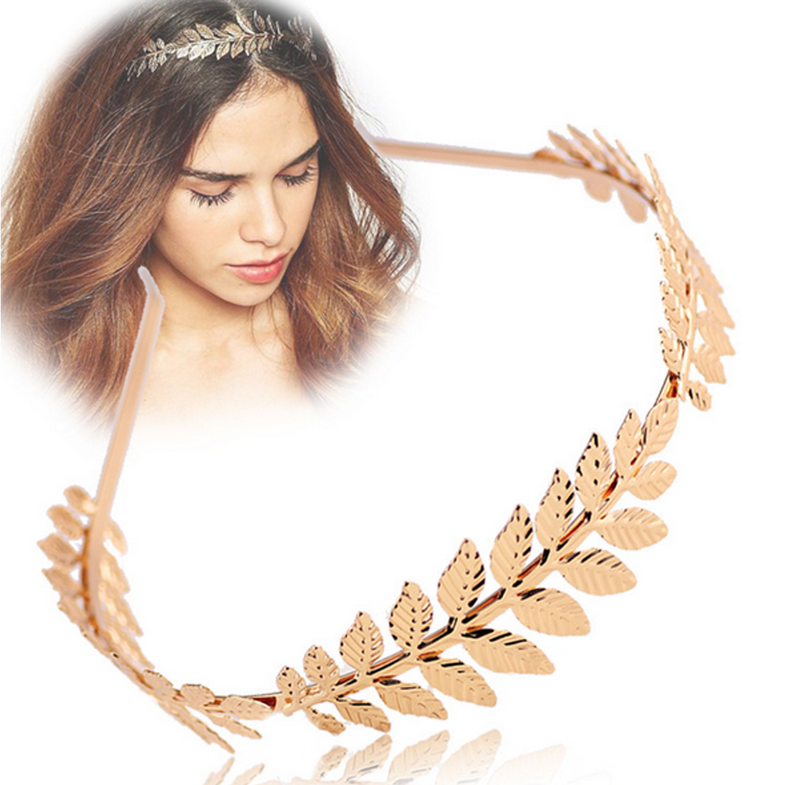 Fashion 1Pcs Vintage Chic Laurel Olive Leaf Branch Crown Leaves Headband Hair Band Girls Women Hair Accessories   Headwear   Gifts