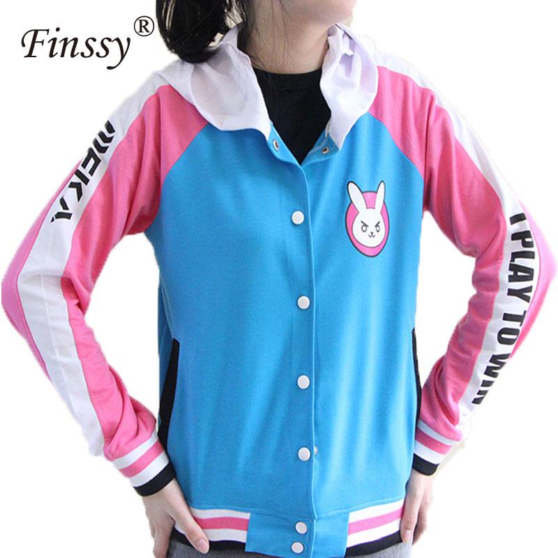 b789b4ae4c1df Hot Game OW DVa Hoodie for Women D.Va Cosplay Costume for Adult Baseball  Coat