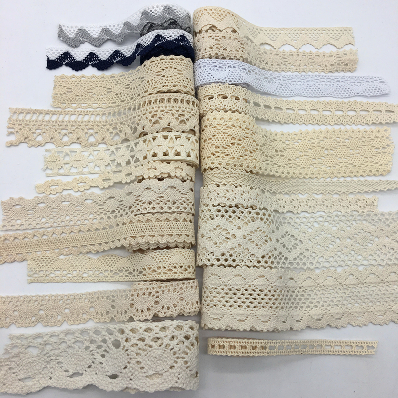 2 Yards/lot Apparel Sewing Fabric Ivory Cream Black Trim Cotton Crocheted Lace Fabric Ribbon Handmade Accessories