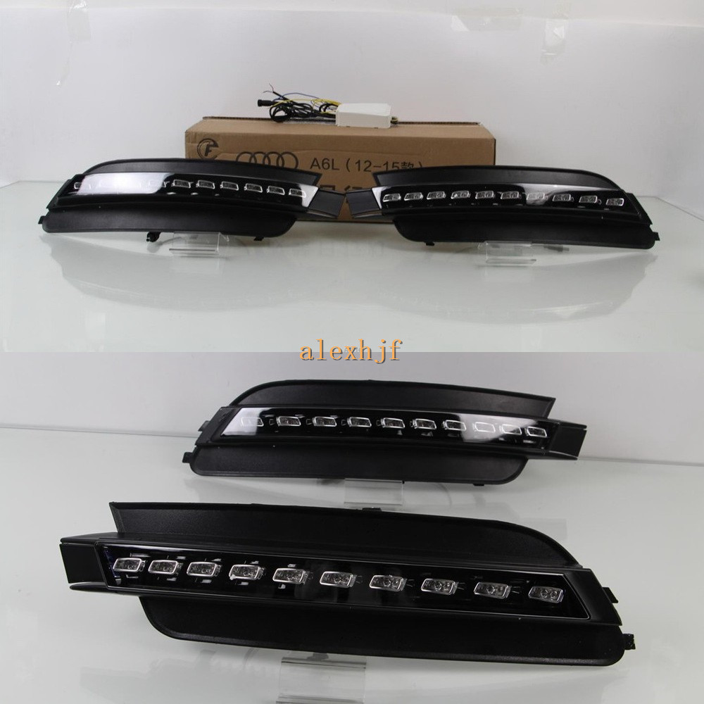 July King LED Daytime Running Lights DRL Case for Audi A6L C7 2012~ON, LED Front Bumper Fog Lamp With Yellow Turn Signals Light лак для ногтей orly permanent collection 009 цвет 009 catch the bouquet variant hex name f38f9c