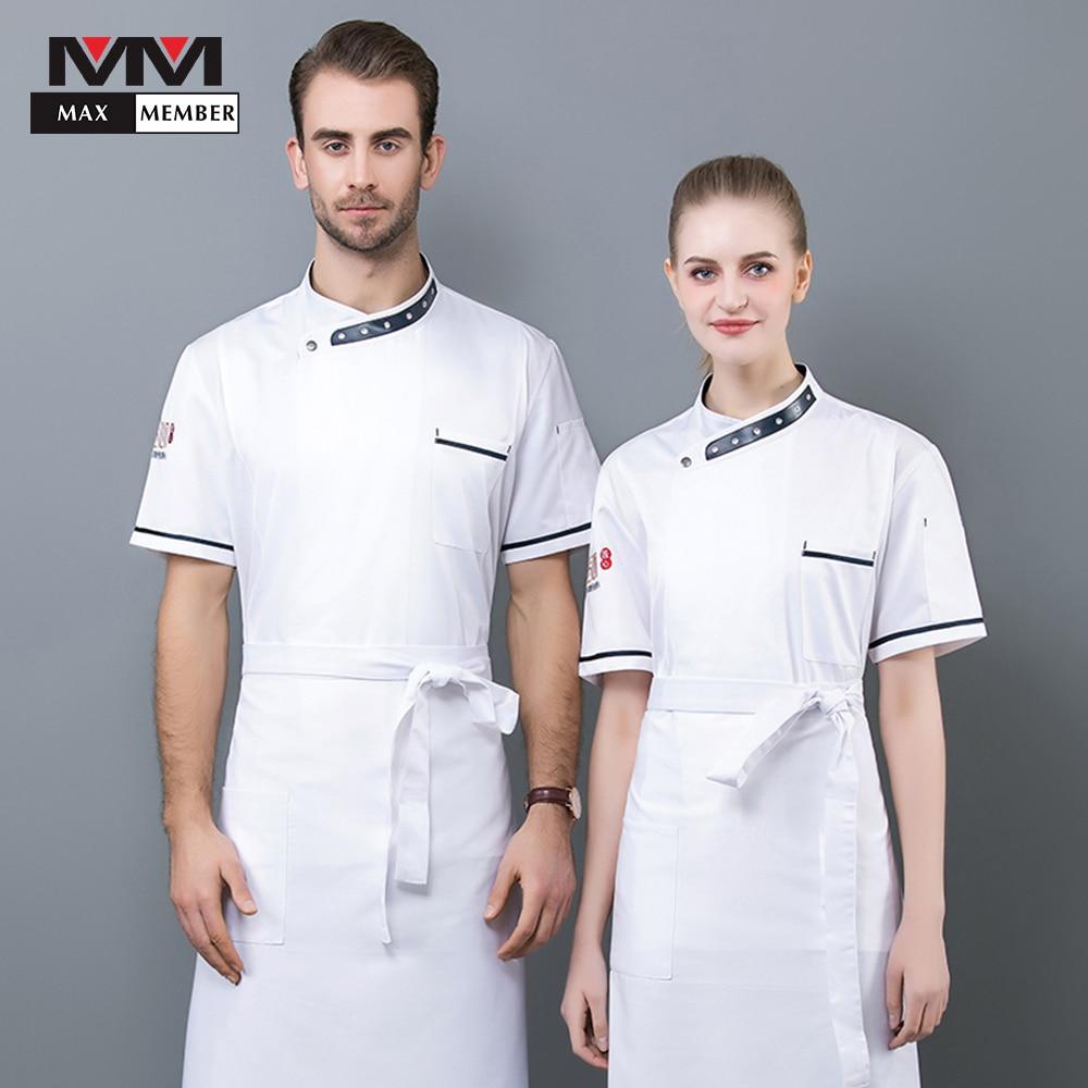 Unisex Kitchen Chef Restaurant Breathable Short Sleeve Hotel Dress Jacket Cook Jackets Women And Man Wear Chef Uniform Work Wear
