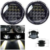 130W 5D Lens 7 Round Daymaker LED Headlights + 4inch LED Fog Lights for Jeep Wrangler 97 2017 JK TJ LJ