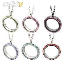 30mm 316L stainless steel round magnetic colorful czech crystals floating glass memory locket pendant with necklace