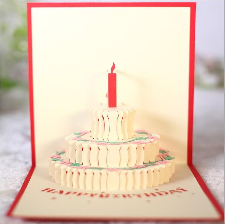 Magnificent 3D Handcrafted Origami Birthday Cake Candle Design Greeting Card Funny Birthday Cards Online Alyptdamsfinfo