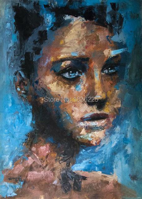 Synny Malarz Handmade Nowoczesne Twarz Kobiety Portret Malarstwo Na Dekoracje Cienne Malarstwo
