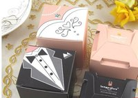 600pcs Lot Wedding Favor Bridal Dress And Groom Square Candy Box Packaging Gift Boxes Diamond Crystal