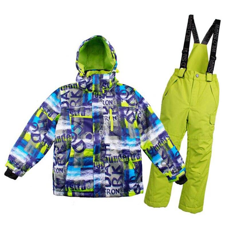2018 garçons GGirls combinaison de Ski pour enfants imperméable coupe-vent pantalon de neige + vestes un ensemble de Sports d'hiver enfant épaissi vêtements