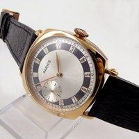 44mm Parnis biała tarcza z polerowanej stali nierdzewnej Wzrosła Złoty Case Skóra 17 klejnoty 6497 Ruch Rąk Wiatr Mechaniczne mens zegarek