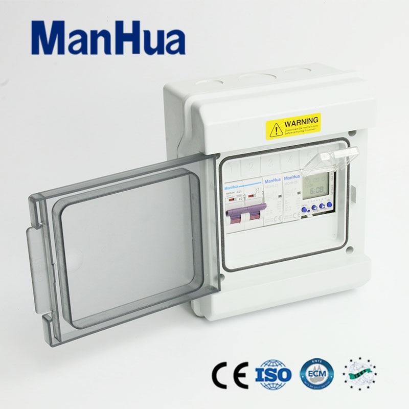 Manhua multifonctionnel deux phases étanche IP65 Protection MT822C1B numérique minuterie interrupteur boîte de contrôle