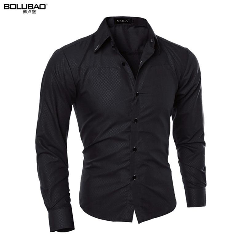 Для мужчин рубашка Новое поступление Мужской сплошной Цвет воротник-стойка Бизнес смокинг Повседневная рубашка с длинным рукавом хлопковое платье Рубашки для мальчиков M-5XL