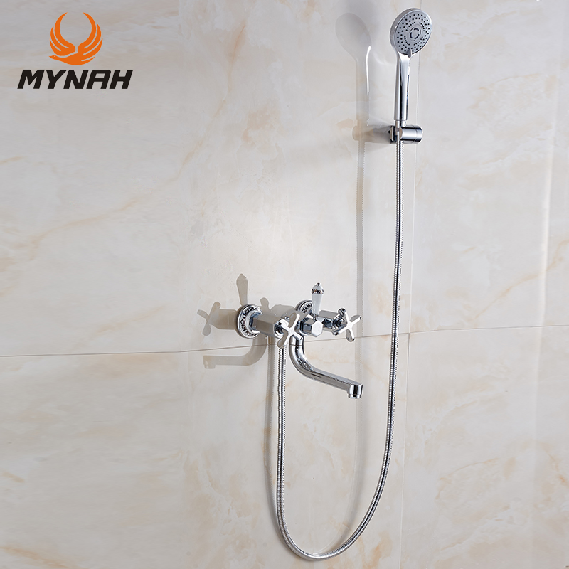 MYNAH Wall Mounting Type Single Holder Dual Control Bathroom Hand Shower Faucet Mixer Sets with Bathroom Tap usb3 0 round type panel mounting usb connecter silver surface