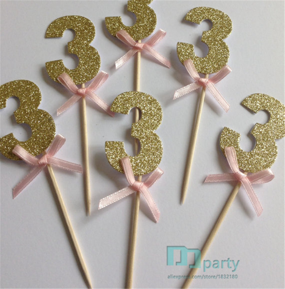 Cake Decorating Gardeners Road : Gold Glitter Number Three Cupcake Toppers with Pink Bow ...