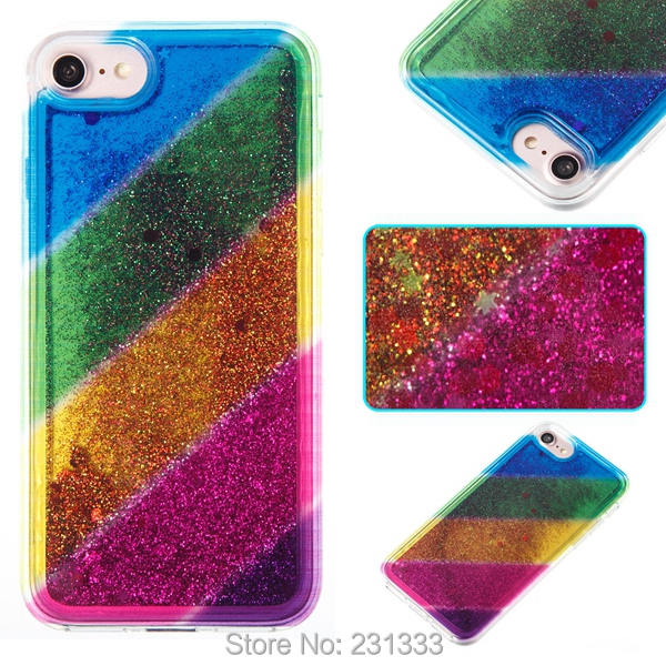 C-ku Liquid Quicksand Glitter Soft TPU Case For Iphone X 8 I8 7 Plus 7PLUS I7 6 6S SE 5 5S Star Rainbow Gradient Cover Skin 1pcs