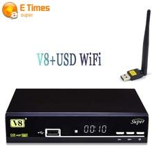 Original V8 Súper Receptor de Satélite DVB-S2 HD con 1 UNID USB Soporte Wifi Newcam Cccam IPTV Powervu Biss Clave Digital Set-top caja