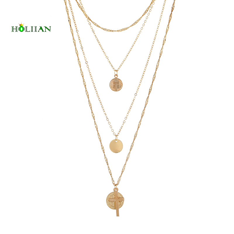 10e82ffa0a5a Multilayers Three Gold colors Coin Pendant Jesus necklace pendant Round  Shape tribal collar big female jewelery For Women Mujer-in Pendant  Necklaces from ...