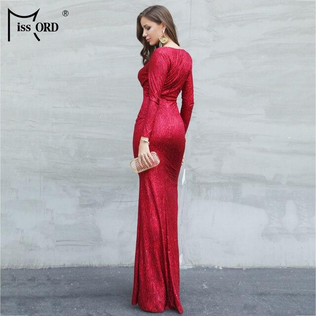 Missord 2019 Sexy V Neck Long Sleeve Glitter High Split Dresses Female Elegant Party Clubwear Maxi Elegant Dress VestdiosFT18776 4