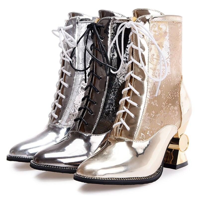 Punta Tacón Color Zapatos 32 Mujeres Diseñador Tobillo 44 gold De Botas Chunky Verano Lujo white Estrecha Fanyuan La Alto Encaje Tamaño Mezcla 2017 Silver wzdtHp