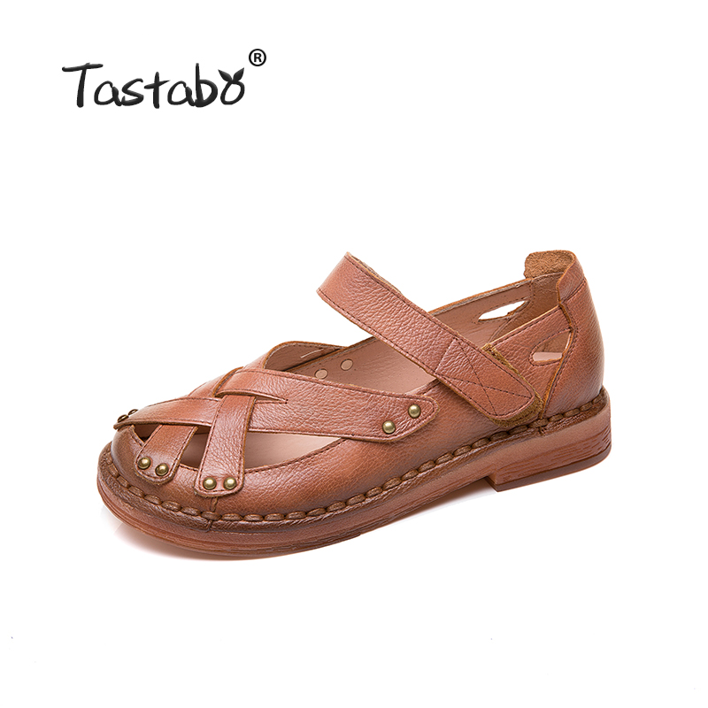 Tastabo Genuine Leather Woman shoes Comfortable Casual Shoes Wear resistant soft bottom Handmade shoes Breathable minimalist-in Women's Flats from Shoes    2