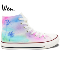 Wen Hand Painted Shoes Original Design Custom Coconut Palm Tree White High Top Canvas Sneakers for Women Men