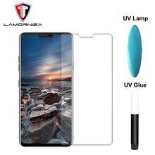 Lamorniea For LG V40 ThinQ Full Glue Glass Screen Protector With UV Liquid Adhesive V30 G7 Sony XZ4 XZ3 Film