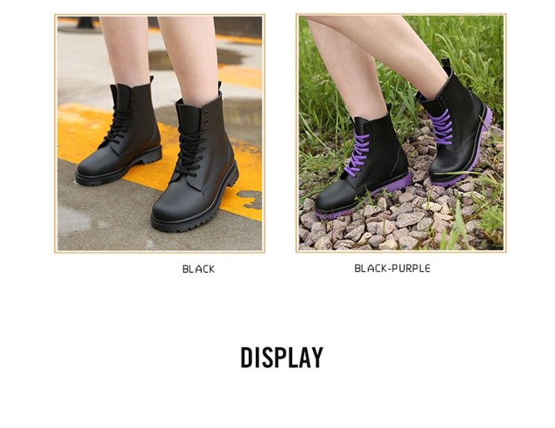 Jusqu'à Fidanei Bottes purple Conception Femme La Caoutchouc En red Martin Imperméables Black Pluie Chaussures Nouvelle Bonne Cheville De Eau Qualité Dentelle qrAEw7q
