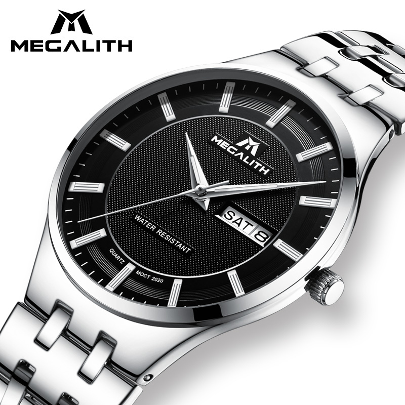 MEGALITH Watch Men Fashion Casual Quartz Clock Waterproof Mens Watches Top Brand Luxury Brand Wrist Watch Male Relogio Masculino nakzen men watches top brand luxury clock male stainless steel casual quartz watch mens sports wristwatch relogio masculino