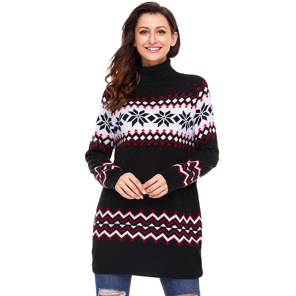 New winter Sweater XL long sleeved turtleneck christmas snowflake sweaters 27807