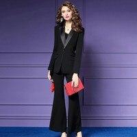 Модная черная офисная одежда женские костюмы Формальные 2 шт. женские тонкие роскошные повседневные деловые женские костюмы широкие брюки