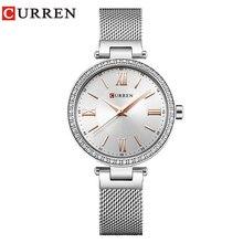 ファッションブランドカレンクリスタルデザインクォーツレディース腕時計ステンレススチールメッシュバンドカジュアル女性腕時計レディース腕時計ギフト
