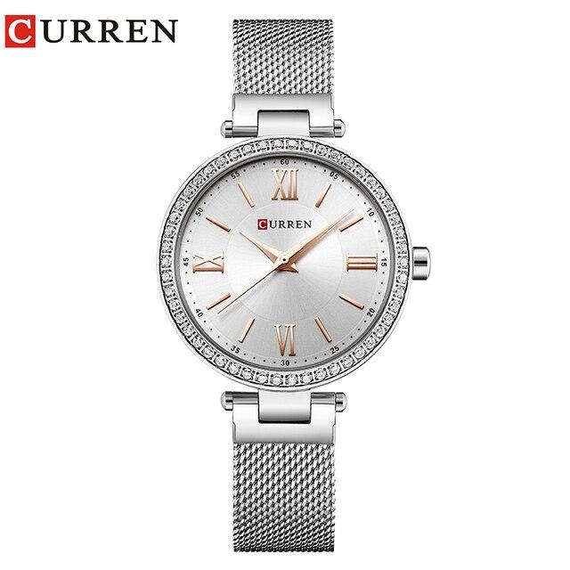 Fashion Brand CURREN Crystal Design Quartz Ladies Wristwatches Stainless Steel Mesh Band Casual Women Watch Ladies Watches Gift