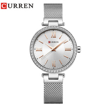 Fashion Brand CURREN Crystal Design Quartz Ladies Wristwatches Stainless Steel Mesh Band Casual
