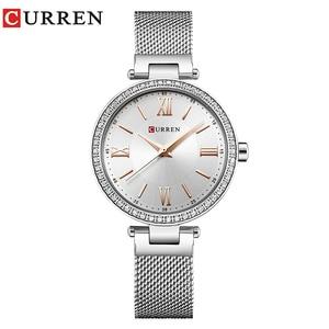 Image 1 - Mode Marke CURREN Kristall Design Quarz Damen Armbanduhren Edelstahl Mesh Band Casual Frauen Uhr Damen Uhren Geschenk