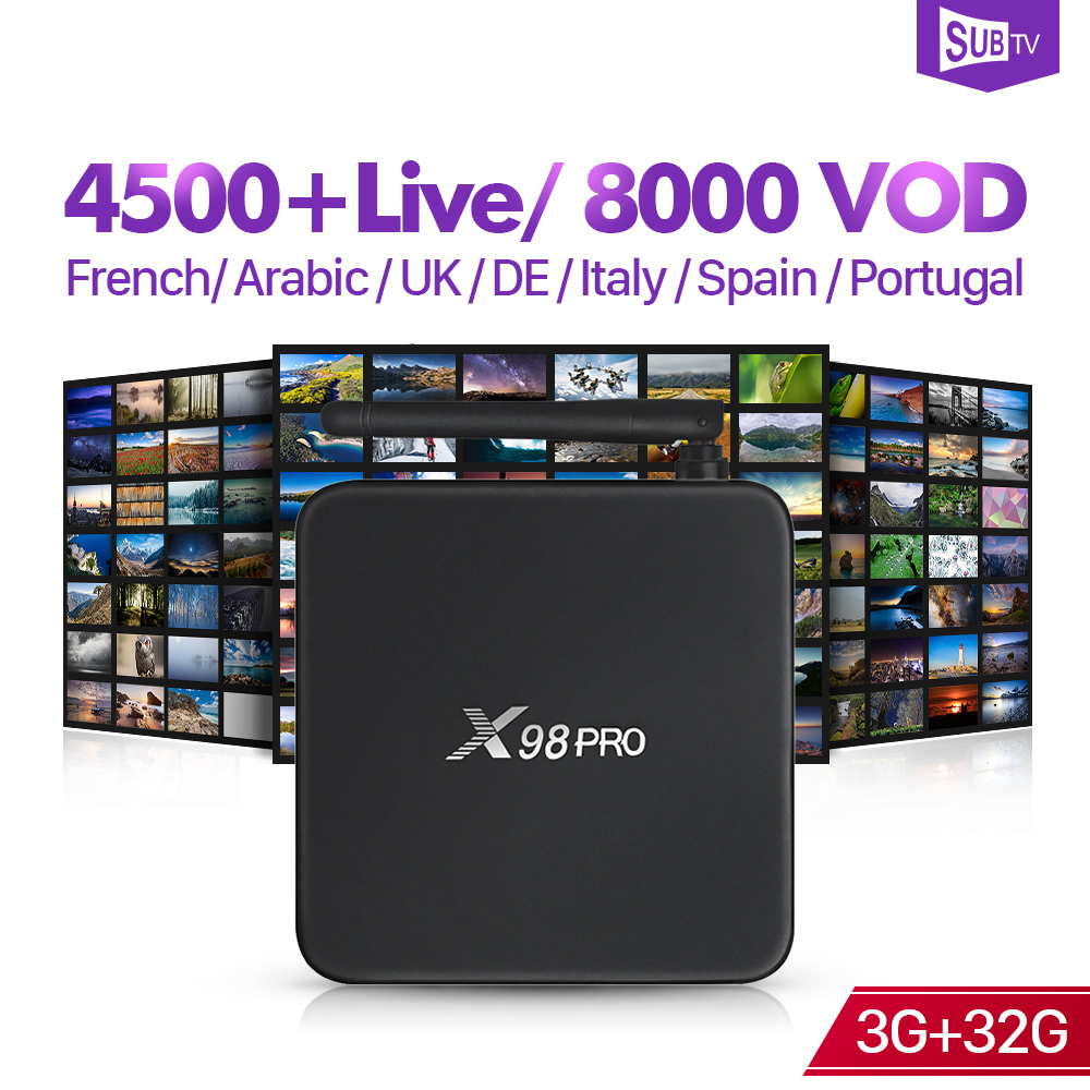 SUBTV IP TV 4 K Full HD France arabe X98 Pro 3 + 32G Android 6.0 octa-core BT double bande WIFI 1 an IPTV abonnement Android Box