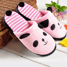 Lovely Cartoon Panda Home Floor Soft Stripe Slippers Female Shoes 36-40(China)