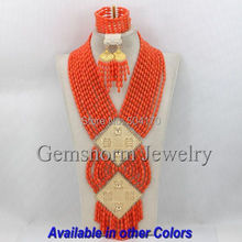 Luxury Nigerian Coral Beads Wedding Jewelry Set Pink African Coral Bridal Jewelry Set 2014 Hot Free Shipping CNR190