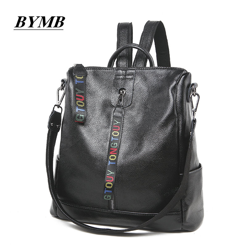 2018 laptop backpack Genuine leather backpacks for teenager Casual Daypacks mochila male High Quality Fashion Girls Backpack