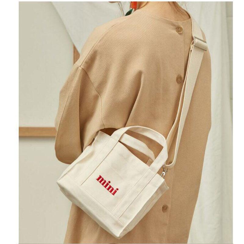 Mini Shopping Bag  White Casual Totes Canvas Totes Beach Bag