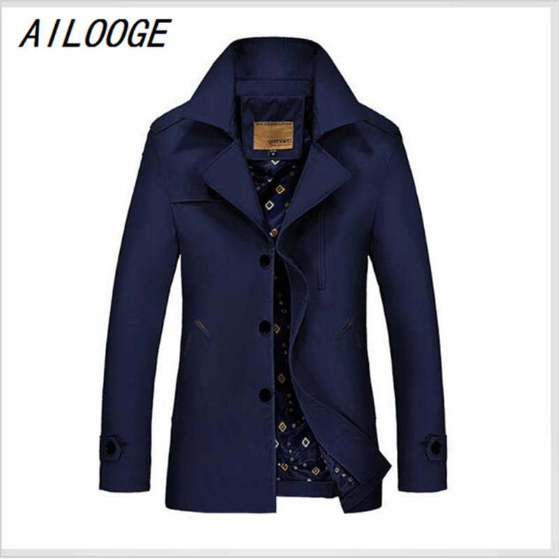AILOOGE 2017 New Long Pardessus Homme British Style Mens Trench Coat Solid Single Breasted Trenchcoat Men Slim Thin Style Trench