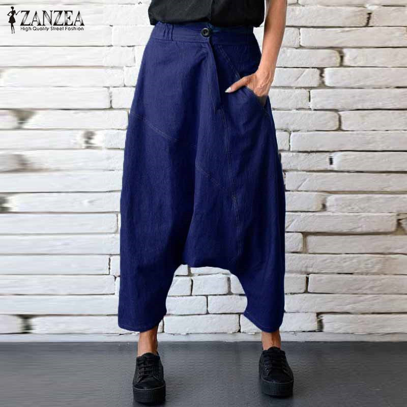 2019 ZANZEA Fall Elastic Waist Zipper Women Low Crotch Denim Harem   Pants   Jeans   Capris   Baggy Pockets Solid Long Trousers Palazzo