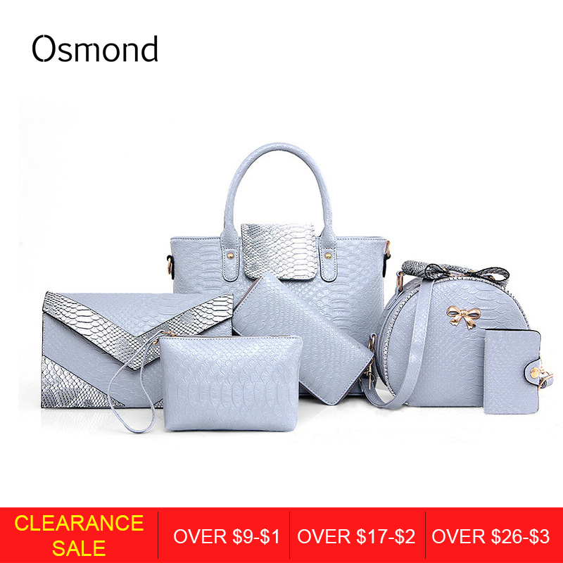 Osmond Women 6PCS Bag Sets Crocodile Women Leather Handbag Shoulder Bag For Women Messenger Bags Clutch And Card Pack Tote Bag stylish women s tote bag with clip closure and crocodile print design