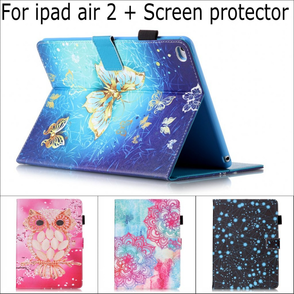 Fashion Cute Cartoon Retro Owl butterfly flower wallet card slot Stand pu leather case cover for iPad Air 2 with screen film