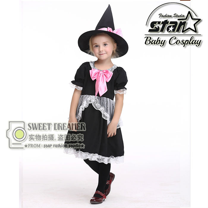 Halloween Baby Girls  Magician Dresses Costumes Girls Hallowmas Party Dresses+Hat Enchanter Cosplay Costumes Children Wear children egyptian pharaoh costumes 2016 new cosplay masquerade halloween childen kid suit cleopatra royal fantasia disfraces