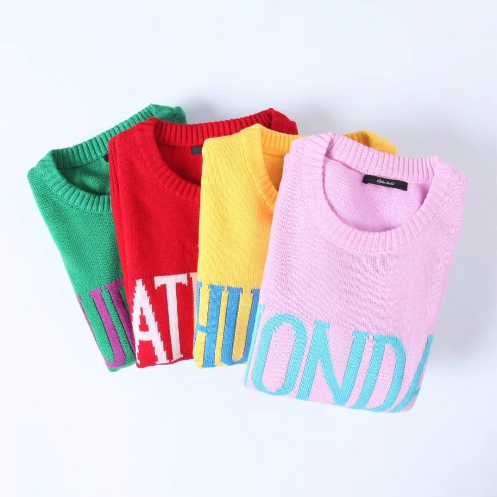 Women Monday To Sunday Embroidered Letters 7 Colors Sweater ...