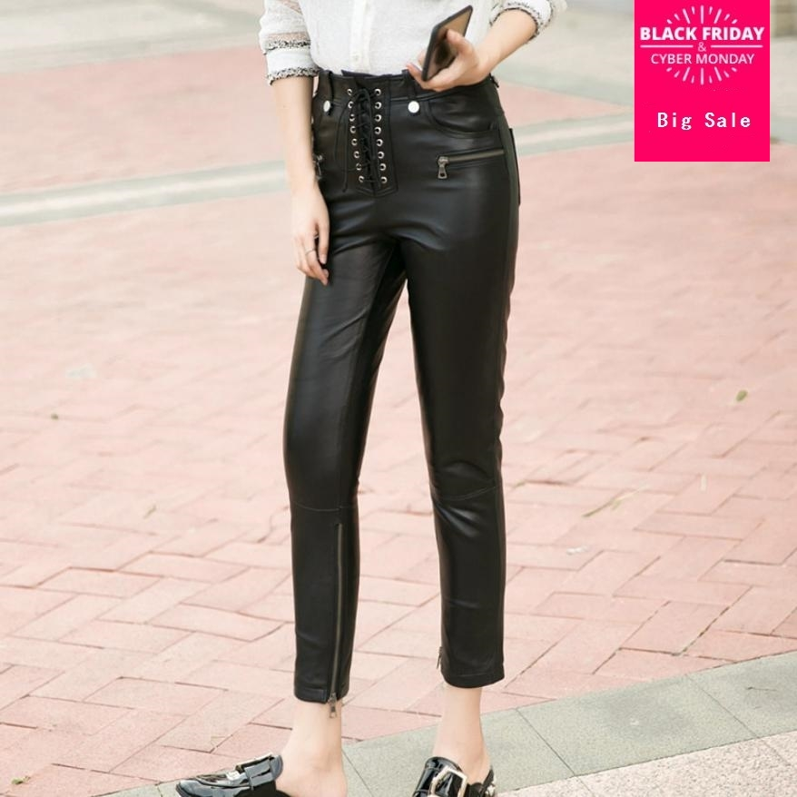 Winter women's genuine leather pants high waist lace up Sheep skin trousers female Bottom zippe real leather pencil pants L1592