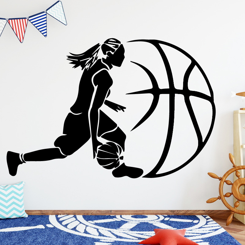Playing Basketball Wall Stickers Decoration Self-adhesive Kids Rooms Living Room Gym Home Decor Removable Sports Waterproof