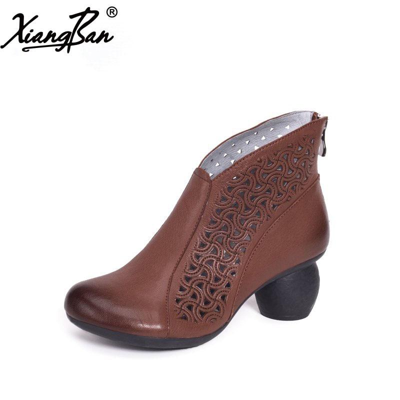 Здесь продается  Xiangban 2018 Spring Ankle Boots Women Cut Out Genuine Leather Women Summer Sandals Boots K911K20  Обувь