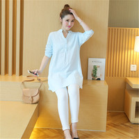 Fashion Pregnant clothes for Pregnancy Long shirts spring summer thin long sleeved maternity shirt dress plus size solid color